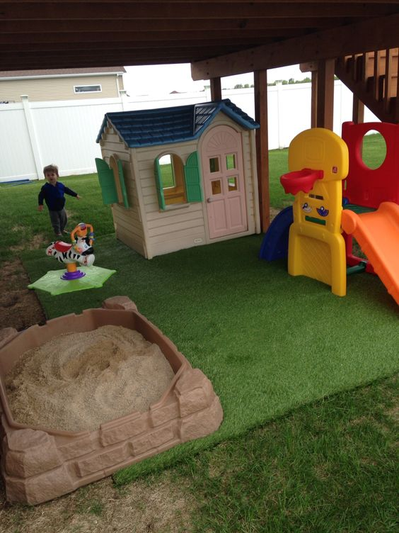 Play Area We Made For The Wasted Space Under The Deck Baby Kids Family Pinterest Sun