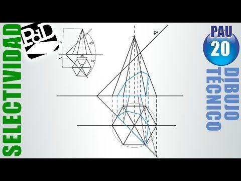Sección Y Verdadera Magnitud De Un Plano De Canto Sobre Una Pirámide Hexagonal Youtube Técnicas De Dibujo Planos Selectividad