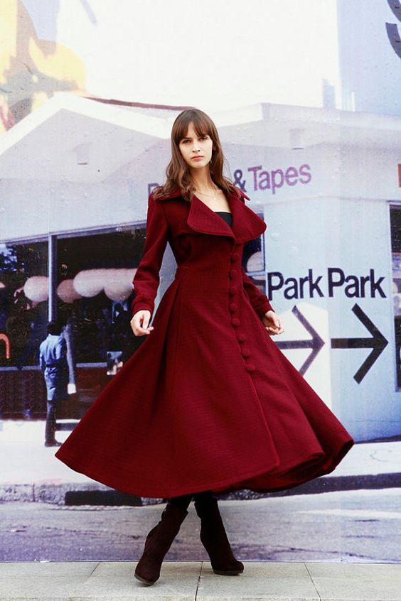 Wine Red Dress Coat Big Sweep Women Wool Winter Coat Long Jacket