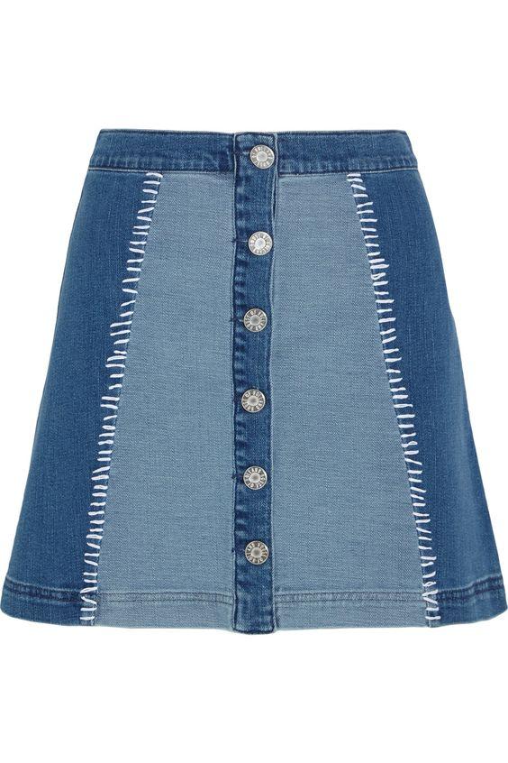 HOUSE OF HOLLAND Patchwork stretch-denim mini skirt. #houseofholland #cloth #skirt