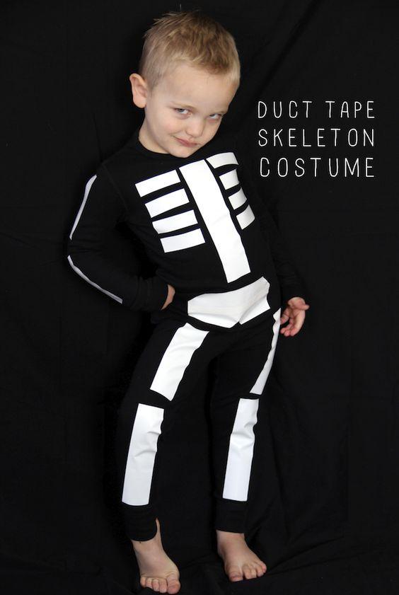 DIY duct tape skeleton costume
