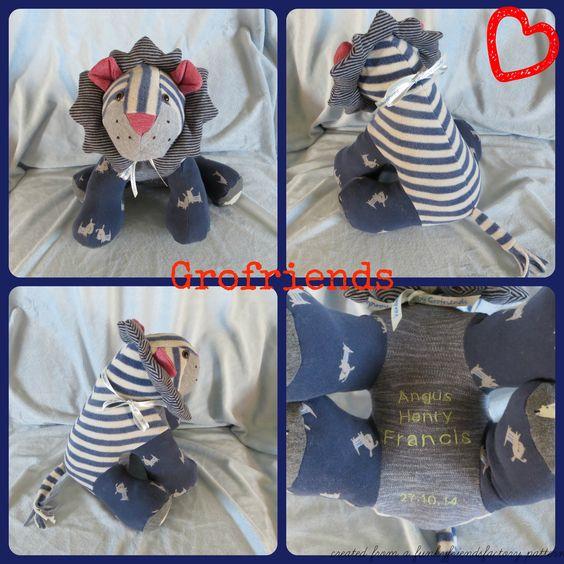 Babygro keepsake Lion, handmade in the UK by www.grofriends.co.uk #handmade #baby #keepsake