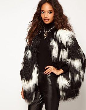 ASOS Oversized Stripe Black &amp White Faux Fur Coat | Others