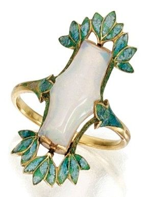 Ring by Georges Fouquet, composed of gold, opal, and enamel, circa 1900-1910.