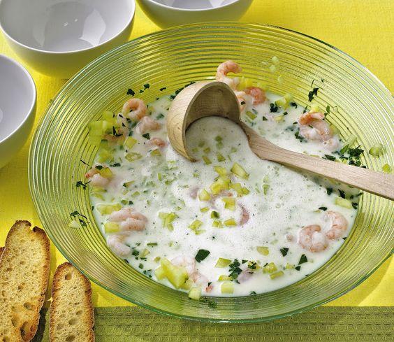 Eismeerkrabben in Buttermilch-Gurken-Suppe