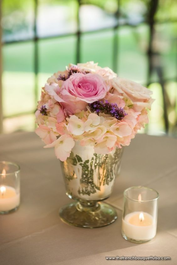 Romantic pink and purple low centerpiece in mercury glass