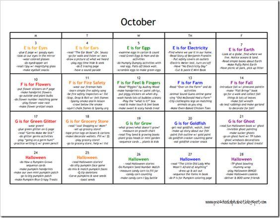 October Calendar Kindergarten : Ideas about preschool plans on pinterest