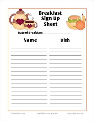 food sign up sheet template