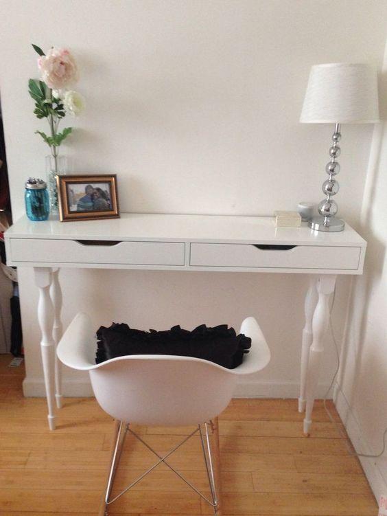 Ikea hack ekby alex shelf nipen table legs my diy desk new house ideas pinterest table - Diy mirrored vanity table ...