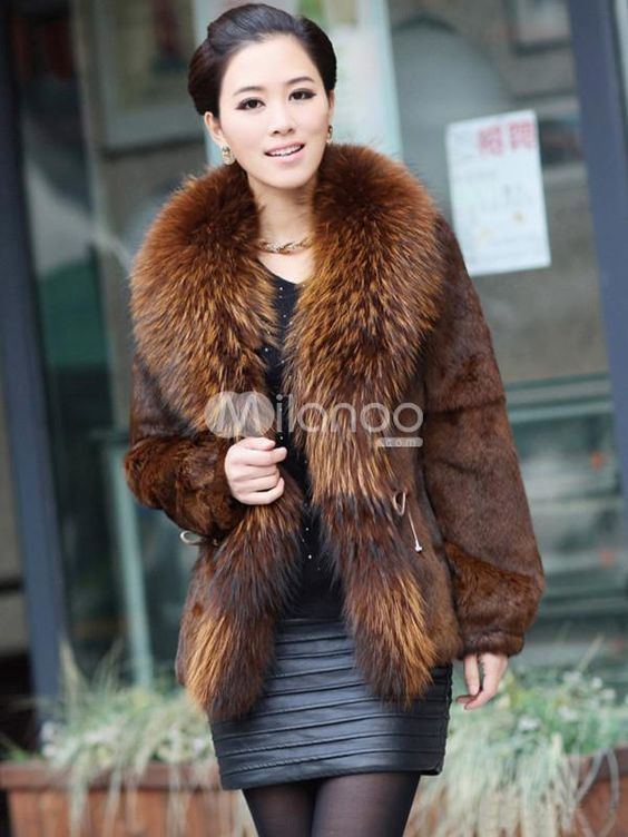 Modern Tan Racoon Collar Cony Hair V-neck Womens Fur Coat. See