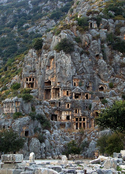 Rock-cut tombs in Myra, an ancient town in Lycia, Turkey.: