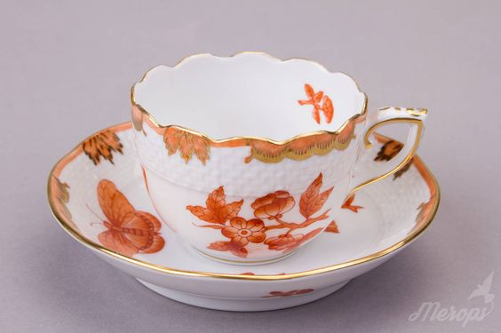 Herend Queen Victoria Orange Tete a Tete Coffee Set | From a unique collection of antique and modern porcelain at https://www.1stdibs.com/furniture/dining-entertaining/porcelain/