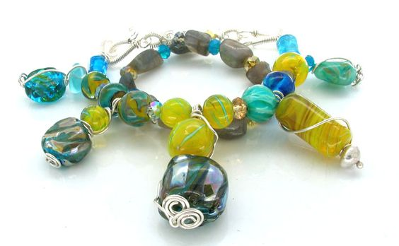 new lampwork,silver and stone necklaces