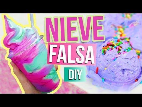 COMO HACER HELADO/NIEVE FALSA ♥ DIY - YouTube