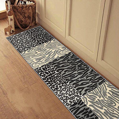 Rubber Backed 20 X 59 Grey Animal Print Patchwork Runner Non