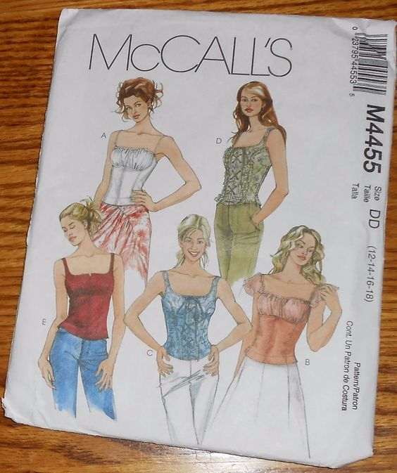 McCall's Sewing Pattern 4455 Misses Tops Corset Size 12 14 16 18 Uncut #McCalls