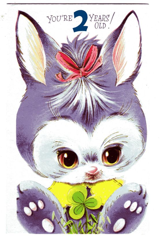 Vintage Birthday Card Purple Bunny w/ Shamrock Clover For two/ 2 Year Old Child 1960's. $ 3.00, via Etsy.