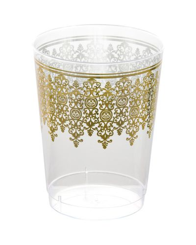 Our 10 Oz. disposable gold ornament plastic tumblers are ideal wedding and family events. There are 10 plastic tumbler . Shop at Posh Party Supplies and save on all your elegant tableware.