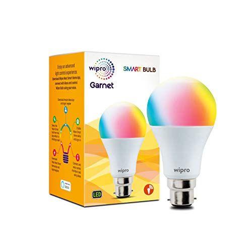 Wipro Wifi Enabled Smart Led Bulb B22 9 Watt 16 Million Colors Warm White Neutral White White Compatible With Am In 2020 Led Bulb Smart Bulb Smart Lights