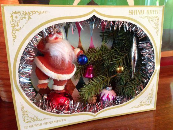 Vintage Shiny Brite Shadow Box / Diorama - Santa & Christmas Tree Branches by Kitschland on Etsy https://www.etsy.com/listing/202663633/vintage-shiny-brite-shadow-box-diorama
