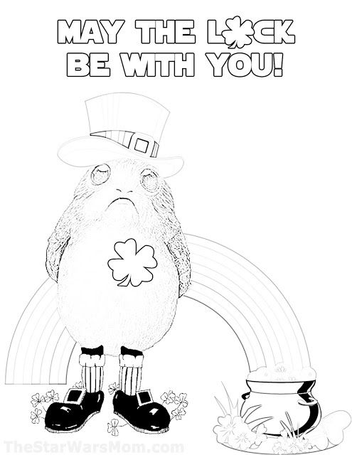 may the luck be with you porg coloring page st patrick s day star wars party star wars theme coloring pages porg coloring page