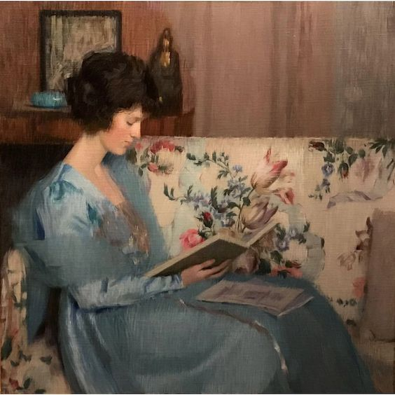 Louise Williams Jackson Oil Painting Portrait of Woman Reading a Book : New Hampshire Antique Co-op | Ruby Lane