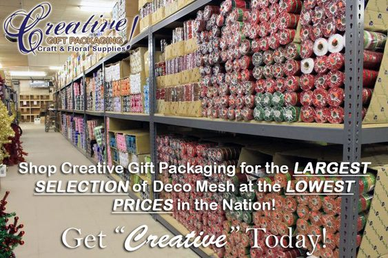"""Creative Gift Packaging Inc is THE BEST place to buy Ribbon, Deco Mesh, Floral, Craft, Wedding and Wreath Supplies.  No gimmicks, no tricks and no bait & switch. Just great selections of TOP QUALITY products at low, honest prices.  Get """"Creative"""" Today!™"""