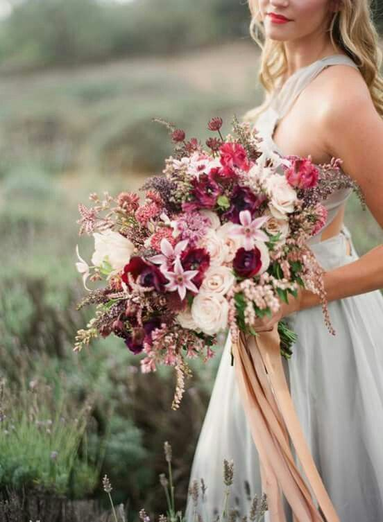 Stunning pink blush burgundy antique rustic bouquet