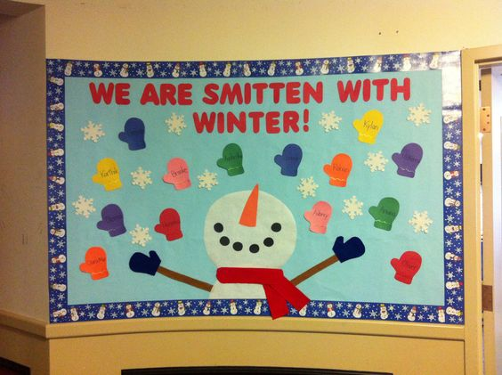 "Winter bulletin board. ""We are smitten with winter"" and the mittens have the children's names on them."