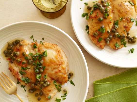 Chicken Piccata from FoodNetwork.com I reduce the lemon by half and replace with more chicken stock.