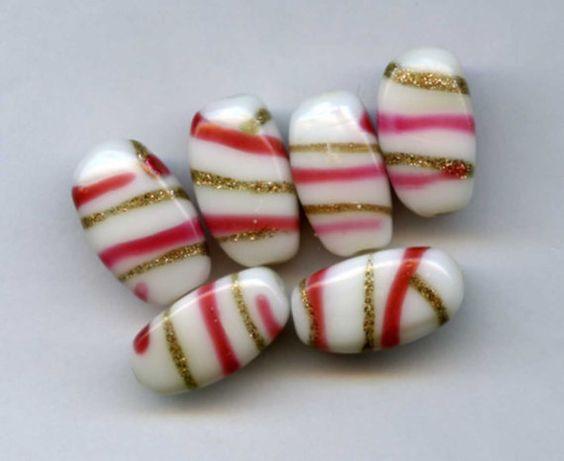 Vintage White Milk Glass Beads with Pink and Aventurine Swirls