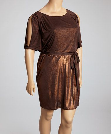 Take a look at this Bronze Shimmer Tie-Waist Dress - Plus by Jessica Simpson Collection on #zulily today!