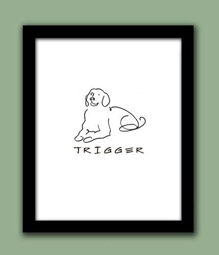 Line Drawing Golden Retriever : Golden retriever personalized line drawing handmade