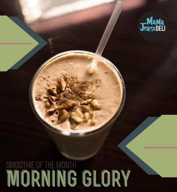 For this month's special, we blend almond milk, fresh walnuts, pecans and flax meal with a frozen banana, a hint of maple syrup and a blend of delicious fall spices. This employee favorite is satisfying enough for breakfast-on-the-go but delicious any time of day. The Morning Glory smoothie is vegan and gluten free but still wonderfully creamy. Try it for only $5 during the month of September.