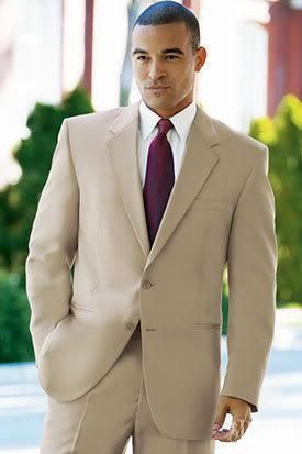 A Tan Suit Is A Bit More Casual Than The Traditional Black Tuxedo