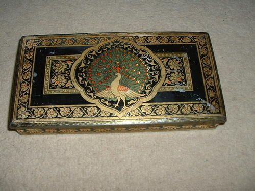 Vintage Tin with Hinged Lid Peacock Picure