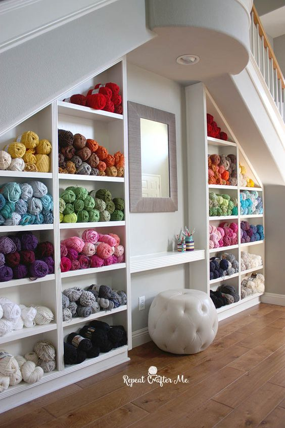 Don't you love this dreamy yarn storage idea by Repeat Crafter Me?!: