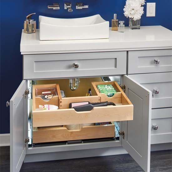 For Bathroom Vanity U Shape Under Sink Pullout Organizer With Blumotion Soft Close Slides By Rev A Shelf Kitchensource Com Bathroom Vanity Organization Bathroom Vanity Storage Under Sink Organization,Blue And White Decorating Ideas For Party