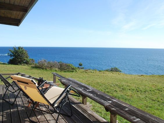 view from cabin's oceanfront deck - Gualala cabin rental