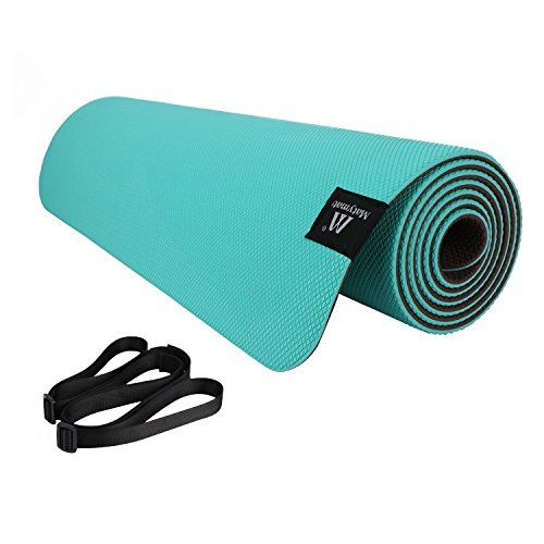 Matymats Non Slip Super High Density 100 Tpe Yoga Mats With Carrying Strap 1 4 6mm Thick Mat With Great Grips For Yoga Pilates Exercise Workout 72 X 24 Gr Non