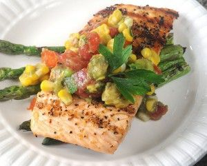 Grilled Salmon Over a Warm Corn Avodcado and Cherry Tomato Salad from @Daughter-in-Law Diaries