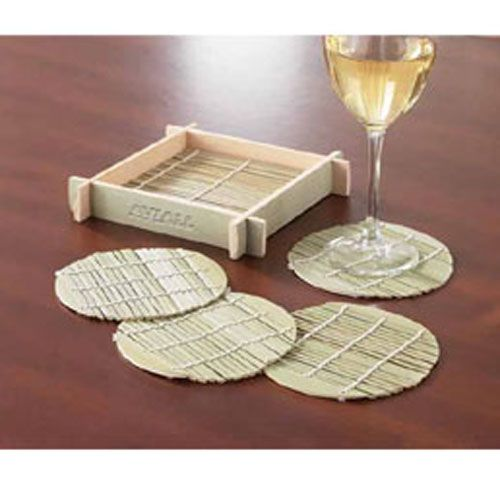 Round Bamboo Coaster Set | rushIMPRINT.com