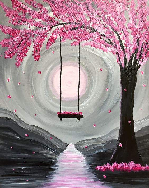 Paint nite whimsical spring blossoms paint nite for for Canvas painting of cherry blossoms
