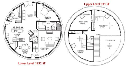 2 Floor Plan for Monolithic Dome Home Earthship Galleries and