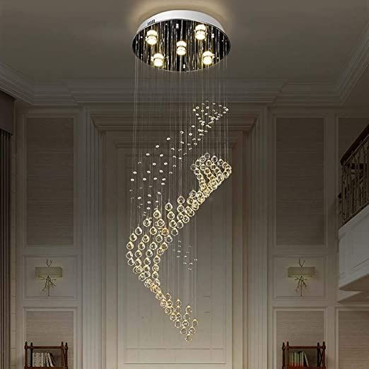 Zehong A Chandelier A Chandelier Led Crystal Chandelier Creative Simple Circular Double Sp In 2020 Chandelier Creative Led Crystal Chandelier Chandelier In Living Room