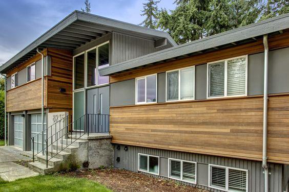 Exterior Refresh Of 1970 39 S Split Level Home Modern Split Pinterest Home Gray And Wells