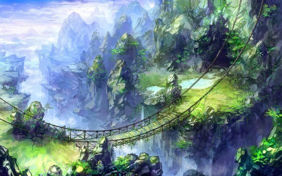 Gebirgslandschaft mit Hängebrücke