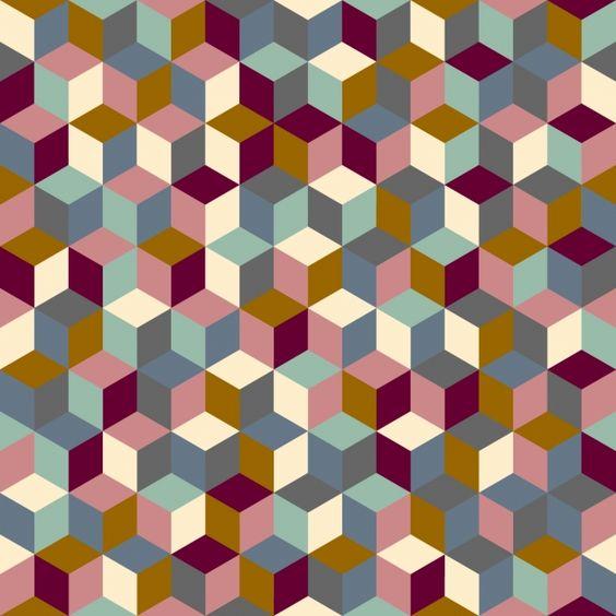 Tissu cubes coloris Quai de Seine par Aime comme Marie, 20x140 cm - Tissus personnalisés/Aime comme Marie - Motif Personnel