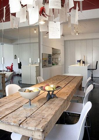 A rustic style reclaimed wood dining table Reno lounge