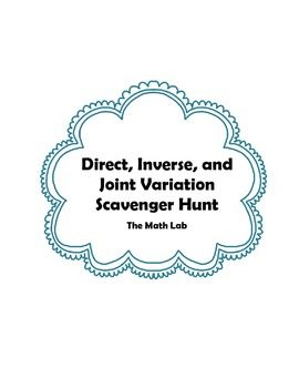Direct Inverse And Joint Variation Scavenger Hunt Math Lab